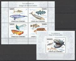 UC259 2010 UNION DES COMORES MARINE LIFE ANIMAUX DANGER L'OCEAN INDIEN 1KB+1BL MNH - Vita Acquatica