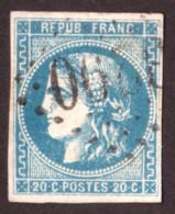Cérès De Bordeaux N° 46B Bleu Clair - Oblitération GC 3290 Sancergues (Cher) - 1870 Ausgabe Bordeaux