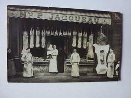 CARTE PHOTO POSTEE DE PARIS RUE JOUFFROY, MAISON P. JACQUEAU BOUCHERIE - Te Identificeren