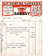 """Facture - EAU MINERALE """"Source SASSAY"""" - PLANCOËT - Date 1953 - Food"""