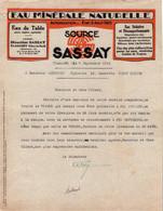 """Lettre Commerciale - EAU MINERALE """"Source SASSAY"""" - PLANCOËT - Date 1934 - Food"""