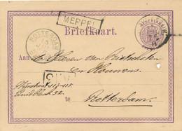 Nederland - 1876 - 2,5 Cent Wapen, Briefkaart G7 Met Haltestempel Meppel En Kleinrond ZUTPH:-LEEUW:/B Naar Rotterdam - Poststempel