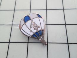 916b Pin's Pins / Rare & De Belle Qualité !!! THEME MONTGOLFIERES / BALLON LIBRE BLEU ET BLANC - Mongolfiere
