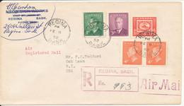 Canada Registered Cover Sent Air Mail To USA Regina Sask 9-2-1952 - Briefe U. Dokumente