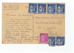 France 1935 Type Paix Affranchissement Rio Janeiro Bresil  N°288 6 Ex + N°281 Cpa Chavaniac Lafayette Ecole Preventorium - Francia