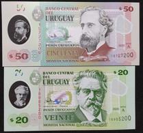 NEW!! Uruguay 2020 - 2 Banknote 20 & 50 Pesos Polymer -  Polymère 2020 - Uruguay