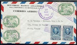 """Honduras - 1952  """"Sucursal Banco Atlantida à Téla"""" Affranchissement Varié (avec Verso) à 60 C Sur Env. Pour Paris - B/TB - Honduras"""