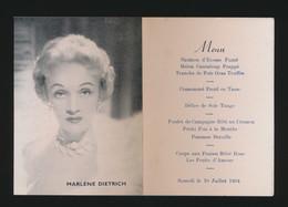 MENU  MARLENE DIETRICH   SAMEDI LE 10 JULLET 1954   2 SCANS - Menus