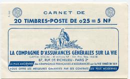 FRANCE 1263 - C3 CARNET DE 20 TIMBRES MARIANNE DE DECARIS  ( S 3-61 ) - 1960 Marianne De Decaris