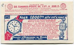 FRANCE 1011 - C9 CARNET NUMEROTE ET DATE 15-12-55 DE 20 TIMBRES DE MARIANNE DE MULLER - 1955- Marianna Di Muller
