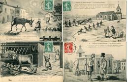 GD 58  LA LEGENDE DE SAINT SAULGE 4 Cartes Numero 1 2 6 7 Ane Lune Pompier Maire église Cadran Solaire - Autres Communes