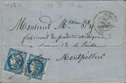 AVEYRON - MILLAU - PAIRE DU 20c CERES DE BORDEAUX N°46A - SUR LETTRE AVEC TEXTE POUR MONTPELLIER - FORTE COTE. - 1849-1876: Classic Period