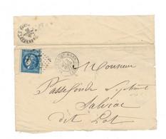Yvert N° 46 /  Fragment De Lettre Oblitéré 4261 GC Villeneuve / Lot - 1870 Emissione Di Bordeaux