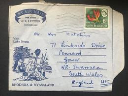 SOUTHERN RHODESIA 1965  Air Letter / Aerogramme Bulawayo To Swansea S. Wales - Lake Nyassa Illustration - Southern Rhodesia (...-1964)