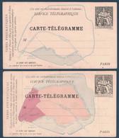 LOT De 2 CARTE-TÉLÉGRAMME PNEUMATIQUE Avec PLAN DE PARIS Au TYPE CHAPLAIN 30c NOIR - Pneumatische Post