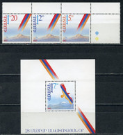 Е150 ARMENIA 1992 194-196 + Block 1 Proclamation Of State Sovereignty. Coats Of Arms And Flags - Armenia