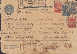 Soviet Union CCCP Boxed Registered Cds. SARATOV 1949 Cover Brief BURG STARGARD (Mecklenburg) Russische Zone (2 Scans) - 1923-1991 USSR