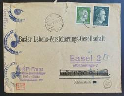 Deutsches Reich 1943, Ausland Zensur Bedarfsbrief - Basler Versicherung - Covers & Documents