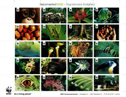 Denmark WWF 2008.  Sheet  With 30 Labels;  The Lushness Of The Rainforest, MNH(**) - Non Classificati