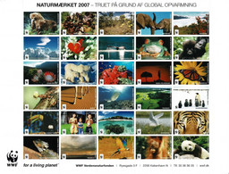 Denmark WWF 2007.  Sheet  With 30 Labels;  Endangered By Global Warming. - Non Classificati