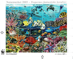 Denmark WWF 2005.  Sheet  With 30 Labels; The Amazing Coral Reefs In The Tropics - Non Classificati