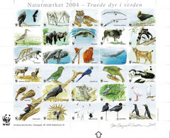 Denmark WWF 2004.  Sheet  With 30 Labels; Endangered Animals In The World - Non Classificati
