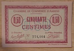 AMIENS ( 80  ) 50 Centimes Chambre De Commerce D'Amiens 1915  Cachet AMD Signature Patte - Chambre De Commerce