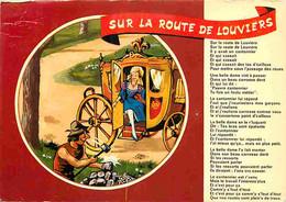 27 - Louviers - Chanson Sur La Route De Louviers - Paroles De La Chanson - Illustration Dessin De R Allouin - Etat Carte - Louviers