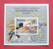 Poland 1992 - Used (o) - Special Postmark - Mi Bl. B , Fi Bl. 148 A Imperforated, Non Dentelé - Olymphilex --- 02 Bl - Blocks & Kleinbögen