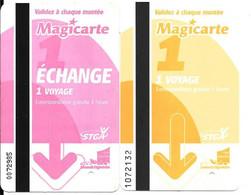 2-TICKETS-2010 BUS-Grand ANGOULEME-STGA-MAGICARTE-1 Jaune:1 Rose TBE -RARE - Europa