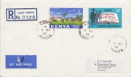 Kenya, Uganda, Tanganyika 30c University Of East Africa And Kenya 5/- Harvesting Tea 1966 Lamu, Kenya Airmail Regi... - Poststempel