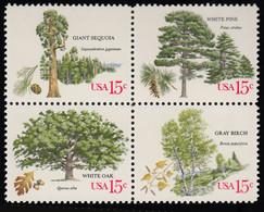 Scott 1764-1767   15c Gray Birch, 15c White Oak, 15c White Pine And 15c Giant Sequoia Trees Se-tenant Block Of Fou... - Estados Unidos