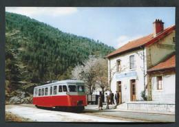 """Carte-photo Moderne """"Tramway Du Vivarais - Ligne Dunières Au Cheylard - Saint Martin De Valamas - Années 50"""" - Tram"""