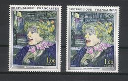 Y. & T.  N° 1426  /  Variété De Coloris  ( Rouge à Lèvres Très Prononcé ) /  Tableau De TOULOUSE-LAUTREC - Variétés: 1960-69 Neufs