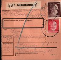 ! 1942 Ferdinandstein In Pommern Nach Leipzig, Paketkarte, Deutsches Reich, 3. Reich - Brieven En Documenten