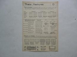 PLANCHE EXTRAITE DE LECONS DE DESSIN INDUSTRIEL Par D. CHEVAIS : Traits - Hachures - Planches & Plans Techniques
