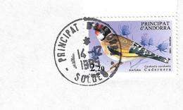 Timbres Sur Lettres 1985 N° 343 Chardonneret Oblitération De Soldeu - Cartas