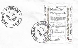 Timbres Sur Lettres 1986 N° 352 Manual Digest Oblitération De Soldeu Cote 5€ - Cartas
