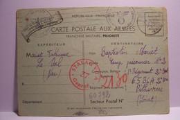 MILITARIA : CARTE POSTALE AUX ARMEES  - Cachet Croix Gammée  -  STALAG - Année 1940 - Weltkrieg 1939-45