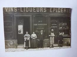 CARTE PHOTO  A IDENTIFIER,AU FRANC BOURGUIGNON,MAISON DURET,MAISON LAMOTTE VINS,LIQUEURS,EPICERIE,POSTEE DE MEAUX - Te Identificeren