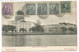 BRASIL 10RX3+20R+50R AU RECTO BILHETE POSTAL PERNABUCO ASSEMBLES GYMNASIO 1908 TO FRANCE - Cartas