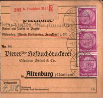 ! 1933 Frankfurt Am Main Nach Altenburg , Mi. 491 Hindenburg MeF, Wert Paketkarte, Deutsches Reich, 3. Reich - Covers & Documents