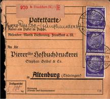 ! 1933 Frankfurt Am Main Nach Altenburg , Mi. 472 Hindenburg MeF, Wert Paketkarte, Deutsches Reich, 3. Reich - Covers & Documents