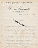 36 0005 VALENÇAY INDRE 1919 Café Restaurant De La Gerbe D'Or Salle Pour Noces & Banquets Éts DION-VONNET Dest. M. TOUTAI - 1900 – 1949