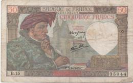 France : 50 Francs 1940 (mauvais état) - 50 F 1940-1942 ''Jacques Coeur''