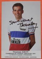 Cyclisme :  Thomas Davy , Champion De France , Avec Dédicace - Ciclismo