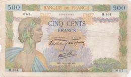 France : 500 Francs 1940 (mauvais état) - 500 F 1940-1944 ''La Paix''