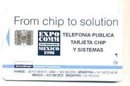 Carte Demonstration à Puce Schlumberger, Expo Comm Mexico 1996 # Demo-402   AVEC DES SIGNES D'UTILISATION - France