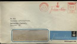 WW II Firmen Briefumschlag Mit Freistempel, Findeisen Und Weber :gebraucht Ettlingen - DAF Karlsruhe 1938 , Bedarfserh - Covers & Documents
