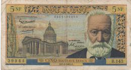 France : 5 Nouveaux Francs 1965 (mauvais état) - 5 NF 1959-1965 ''Victor Hugo''